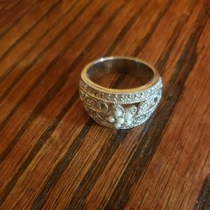 Seed Pearl and CZ Fashion Ring
